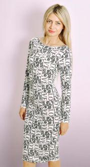 Monochrome 'LOVE' Print Midi Dress